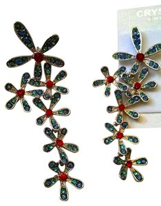 New Blue Red Crystal Flower Stud Dangle Earrings J946