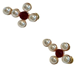 New Pearl Red Crystal Stud Earrings White J948