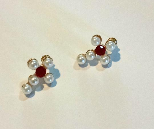 Other New Pearl Red Crystal Stud Earrings White J948