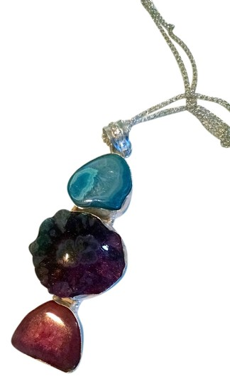 Other New Agate Gemstone Necklace 925 Silver J952
