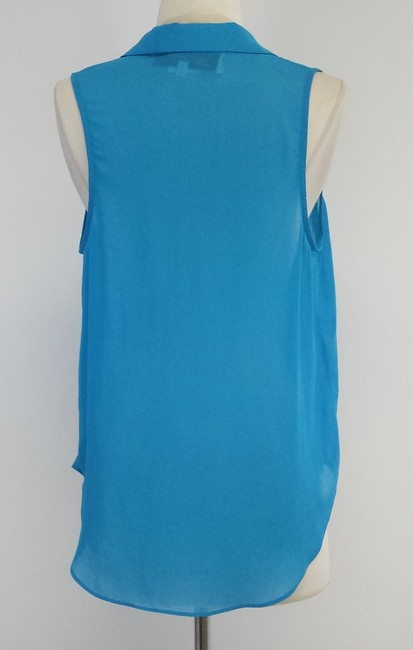 Rory Beca Cerulean Blue Sheer Sleeveless Top