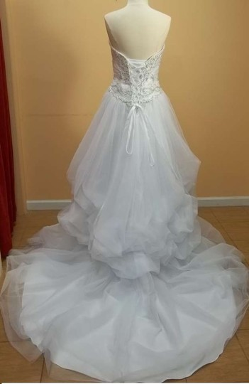 Alfred Angelo White/Metallic Taffeta 2319c Formal Wedding Dress Size 10 (M)