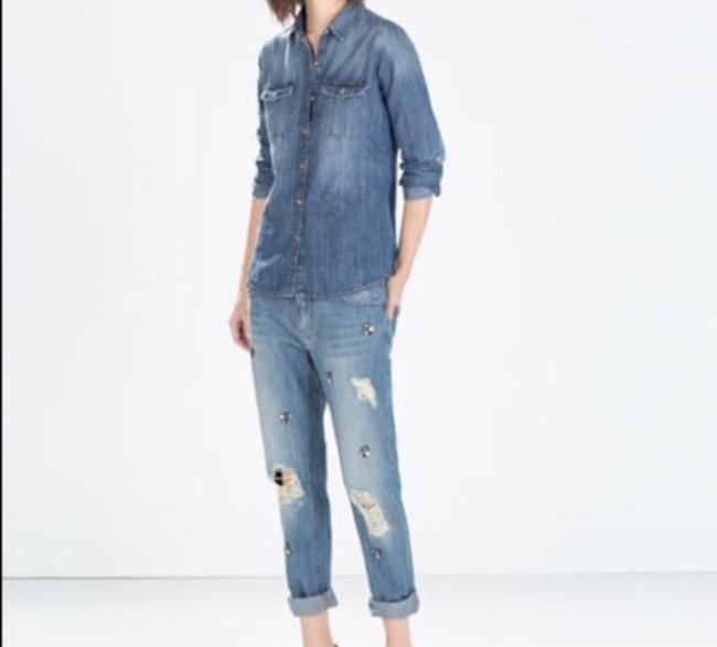Zara Relaxed Fit Jeans-Light Wash