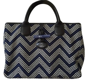 Longchamp Chevron Satchel in Blue/black/white
