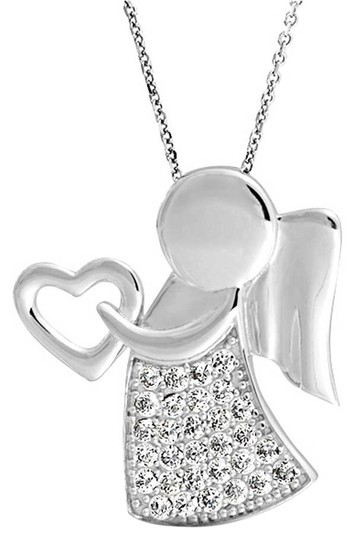 9.2.5 Nwot Sterling Silver 925 Angel Wing Heart Pendant Child Religious Daughter Mother Valentine Gift Necklace
