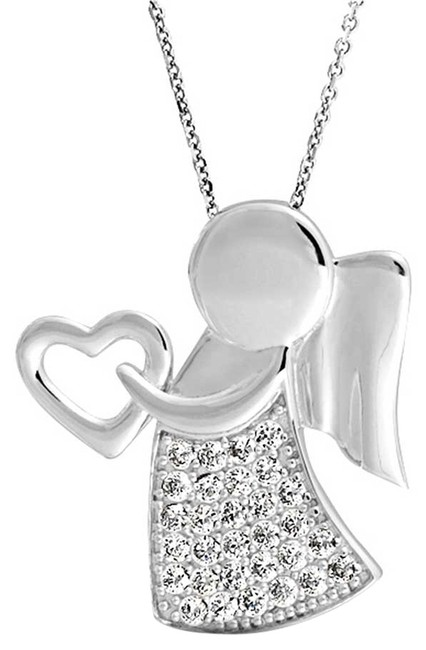 Item - Nwot Sterling Silver 925 Angel Wing Heart Pendant Child Religious Daughter Mother Valentine Gift Necklace
