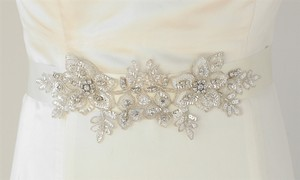 Mariell Ivory Breathtaking Handmade with European Crystal Beaded Applique 4193sh-i Sash