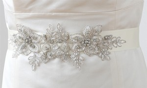 Mariell Breathtaking Handmade Sash Of European Crystal Beaded Applique 4193sh-w