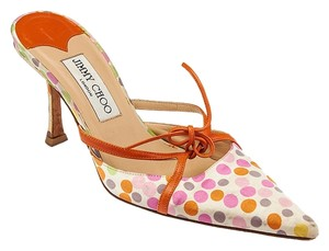 Jimmy Choo Silk Leather Orange Orange Leather Polka Dots Multi-color Pointed Toe Bow Cut-outs White Mules