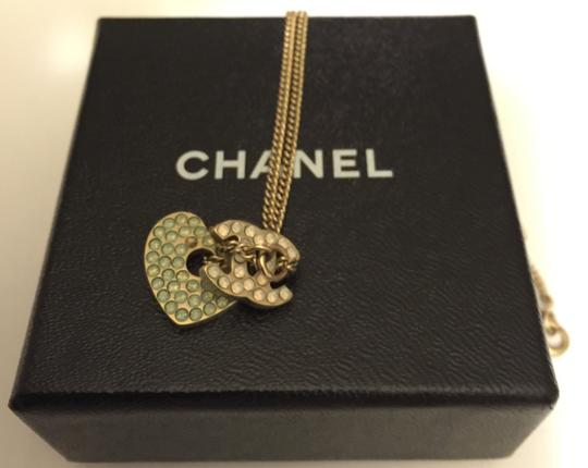Chanel Chanel Crystal CC Logo & Heart Charm Necklace with Box
