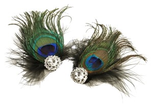 Mariell Peacock Feather & Black Marabou Shoe Clips with Crystal 3957SC-JE