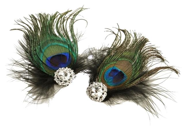 Item - Black Peacock Feather & Marabou Shoe Clips with Crystal 3957sc-je