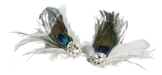 Mariell Peacock Feather & White Marabou Shoe Clips with Crystal 3957SC-W