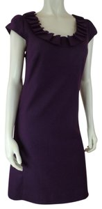 J.Crew short dress Purple Size 2 Wool Blend Shift Lined Cap Sleeves Side Zip Stretchy Lightweight on Tradesy