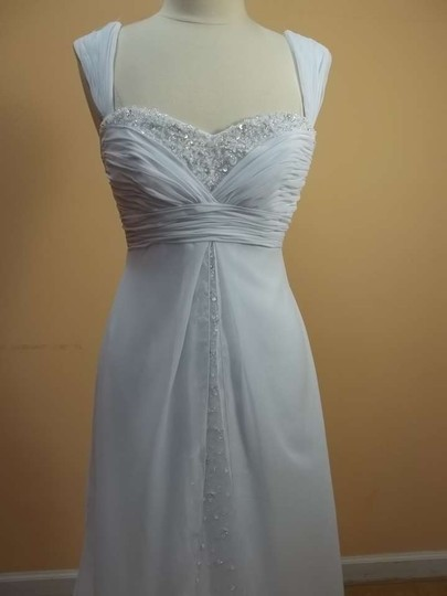 Mori Lee White/Silver Chiffon 4511 Formal Wedding Dress Size 10 (M)