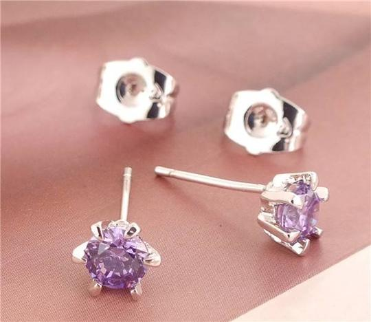 Silver Bogo Free Amethyst Sterling Plated Free Shipping Earrings