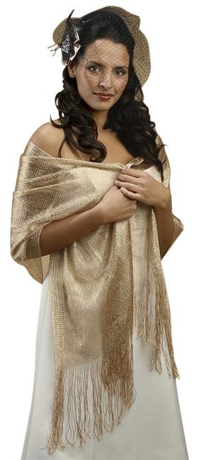 Item - Champagne/Gold Metallic Weave For Weddings Or Proms 3262w-ch-g Scarf/Wrap