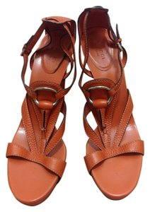 Gucci Orange Leather Monogram Leather Orange Leather Burnt Orange Sandals