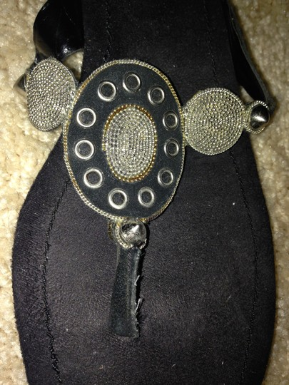Enzo Angiolini Studded Black and Silver Sandals