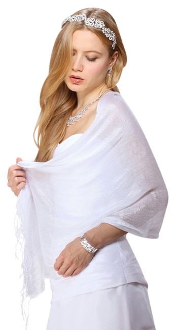 Item - White W Luxurious Mesh Evening Or Prom 3557w-w Scarf/Wrap