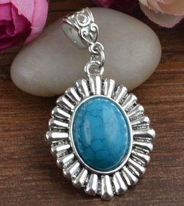 Tibet Silver Turquoise Pendant Free Chain & Shipping
