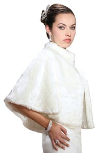 Mariell Faux Mink Pelted Fur Bridal Cape in Ivory 3840CA-I