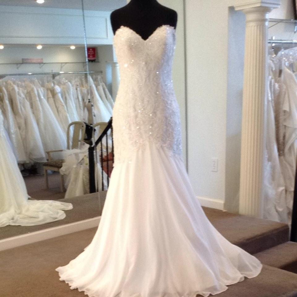 Maggie Sottero Lace Wedding Gown: Maggie Sottero Ivory Lace With Chiffon Wedding Dress Size