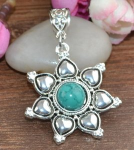 Turquoise Heart & Flower Tibet Silver Necklace Free Shipping