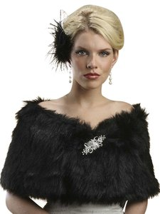 Mariell Faux Fur Shawl with Jet Black Fox 116W-JE