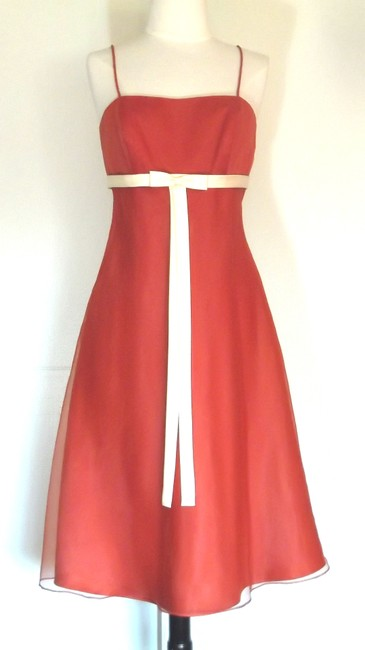 Item - Burnt Orange / Light Yellow Organza / Satin Style 6476 Casual Bridesmaid/Mob Dress Size 4 (S)