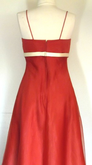Alfred Angelo Burnt Orange / Light Yellow Organza / Satin Style 6476 Casual Bridesmaid/Mob Dress Size 4 (S)