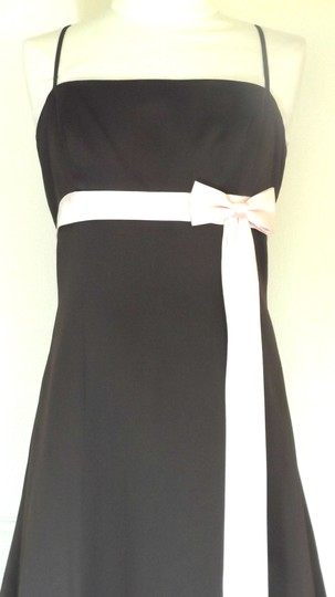 Alfred Angelo Chocolate / Light Pink Satin Style 6133 Formal Bridesmaid/Mob Dress Size 8 (M)