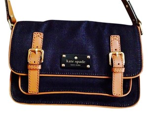 Kate Spade Blue Leather Trim Leather Gold Hardware Cross Body Bag