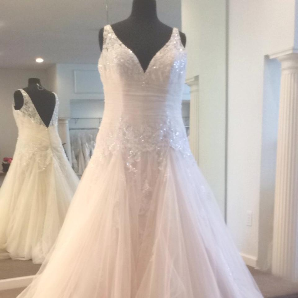 Maggie Sottero Light Gold Tulle and Lace Wedding Dress Size 24 (Plus ...