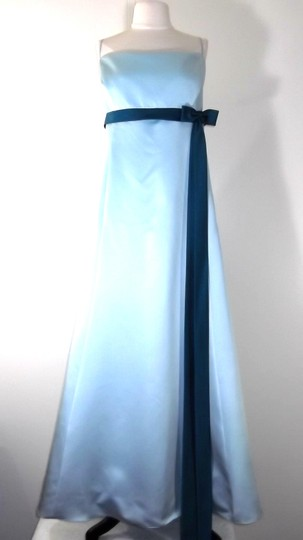 Alfred Angelo Baby Blue / Teal Satin Style 6133 Formal Bridesmaid/Mob Dress Size 22 (Plus 2x)