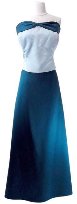 Item - Teal / Baby Blue Satin Style 6306 Formal Bridesmaid/Mob Dress Size 18 (XL, Plus 0x)