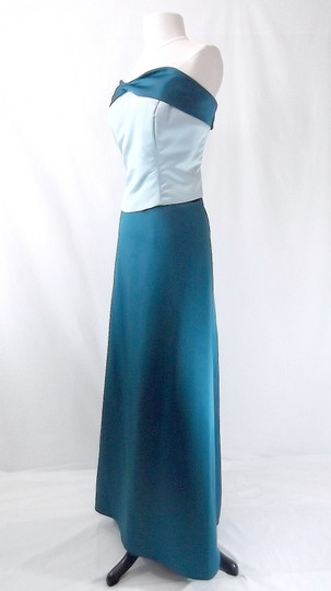 Alfred Angelo Teal / Baby Blue Satin Style 6306 Formal Bridesmaid/Mob Dress Size 18 (XL, Plus 0x)