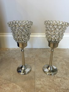 Set Of 3 - Crystal Gem Stem Candle Holder