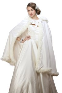 Mariell Mid Length Hooded Satin Bridal Cloak with Faux Angora Trim 3370CL-I
