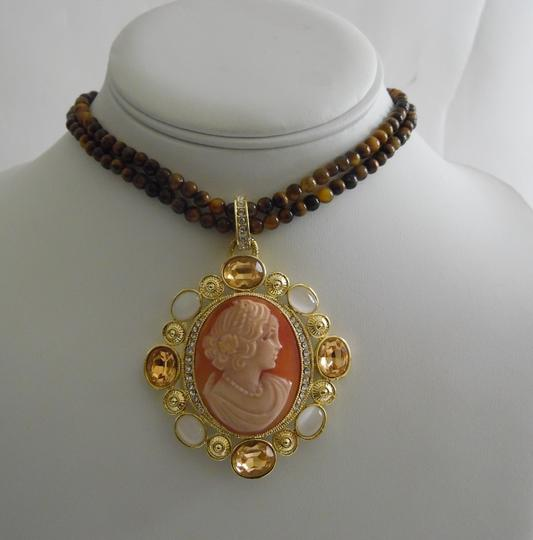 AMEDEO AMEDEO NYC Modica 25mm Cornelian Shell and Simulated White Cats Eye Crystal Accented Pendant and Beaded Necklace