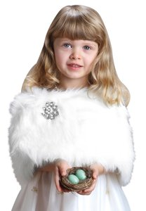 Mariell Children's Ivory Faux Fur Wrap for Winter Weddings 3825W-I