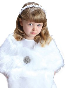 Mariell Children's White Faux Fur Wrap for Winter Weddings 3825W-W