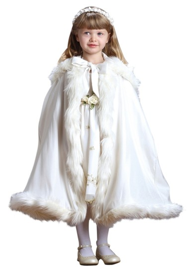 Mariell Children's Ivory Hooded Satin Cloak with Faux Fur Trim 3940CL-I