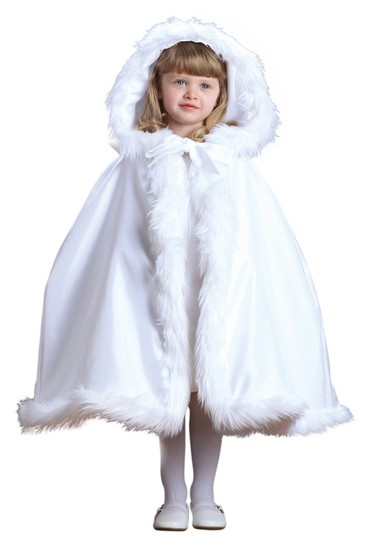 Mariell Hooded Children's White Satin Wedding Cloak w/ Faux Fur Trim 3940CL-W
