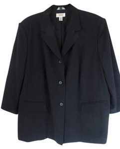 Talbots Sie 20 Womans Stretch Lined 3/4 Sleeves Button Front Padded Rayon Lycra Polyester Looks New Pockets Black Blazer