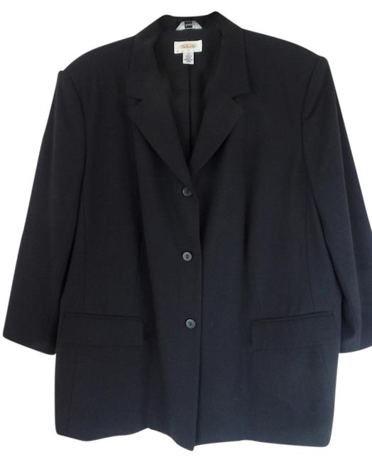 Talbots Sie 20 Womans Stretch Lined 3/4 Sleeves Button Front Padded Shoulders Rayon Lycra Polyester Looks New Pockets Black Blazer