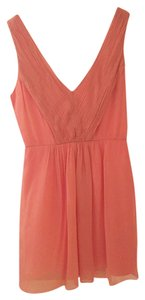 J.Crew Bridesmaid Coral Silk Chiffon Salmon Wedding Dress