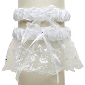 Mariell Embroidered Wedding Garter Sets with Scattered Crystals - White G021-W-W