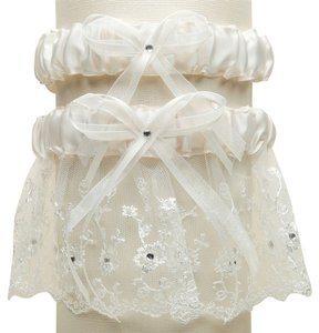 Mariell Embroidered Wedding Garter Sets with Scattered Crystals - Ivory G021-I-I