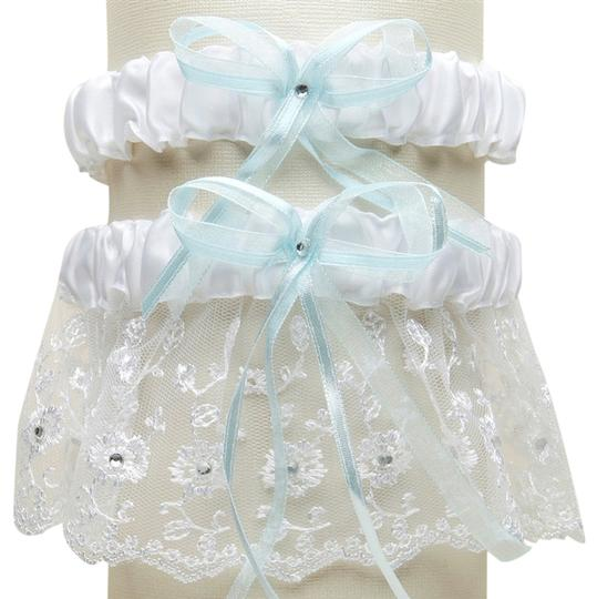 Mariell Embroidered Wedding Garter Sets with Scattered Crystals - White with Blue G021-BL-W